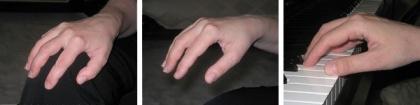 La posicion de las manos al tocar el piano