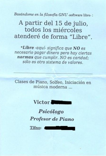 Aviso de profesor de piano